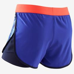 Short double respirant W500 fille GYM ENFANT violet imprimé