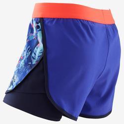 Ademende short voor gym meisjes W500 dubbel paars/print