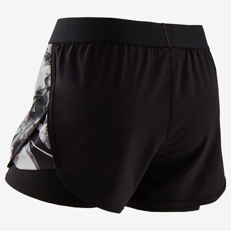 Girls' Breathable Double Gym Shorts W500 - Black Print