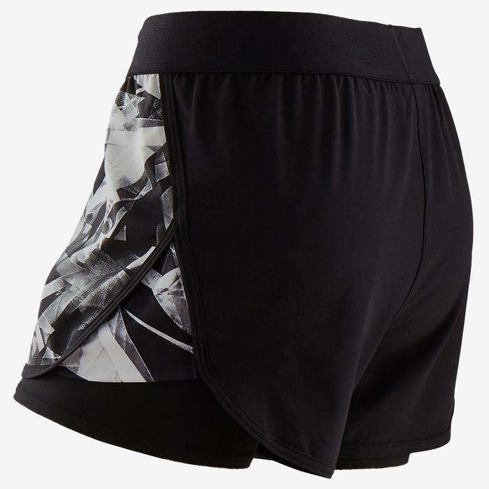 Ademende short voor gym meisjes W500 dubbel zwart/print