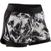 Girls Shorts Double Layer Gym Breathable W500 - Black Print