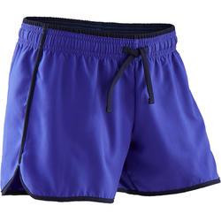 Ademende short voor gym meisjes W500 effen paars