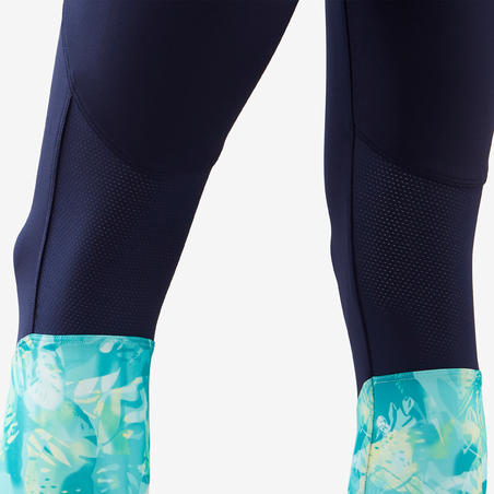 Celana Senam Crop Sintetis Breathable Perempuan S500 - Biru Motif