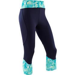 Ademende kuitbroek voor gym meisjes S500 synthetisch blauw/print