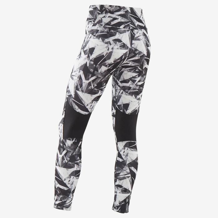 Ademende legging voor gym meisjes S500 synthetisch zwart/print