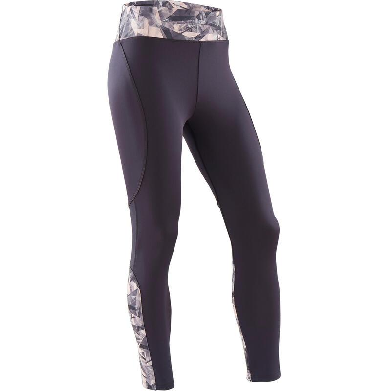 Ademende legging voor gym meisjes S500 synthetisch grijs/roze print