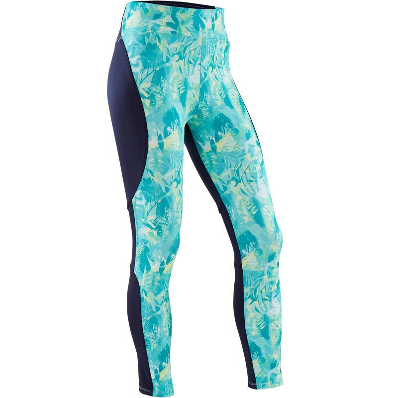 Ademende legging voor gym meisjes S500 synthetisch groen/blauw/print