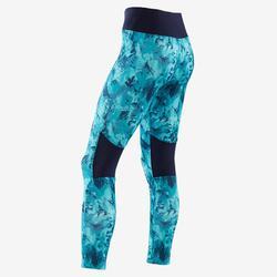 Ademende legging voor gym meisjes S500 synthetisch blauw/print