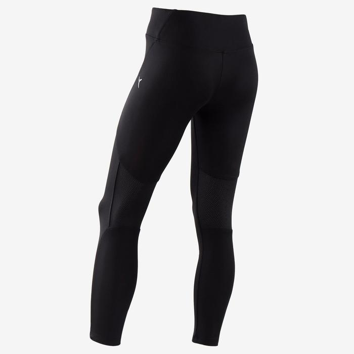 S500 Girls' Breathable Synthetic Gym Leggings - Black