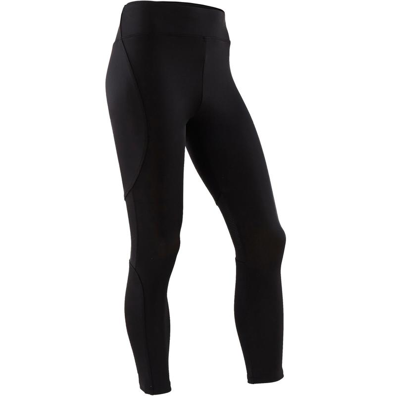 S500 Girls' Breathable Synthetic Gym Leggings - Black
