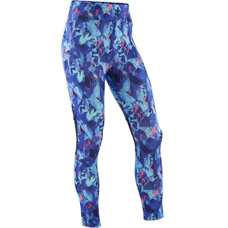 Ademende legging voor gym meisjes S500 synthetisch paars/print