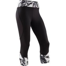 Ademende kuitbroek voor gym meisjes S500 synthetisch zwart/print