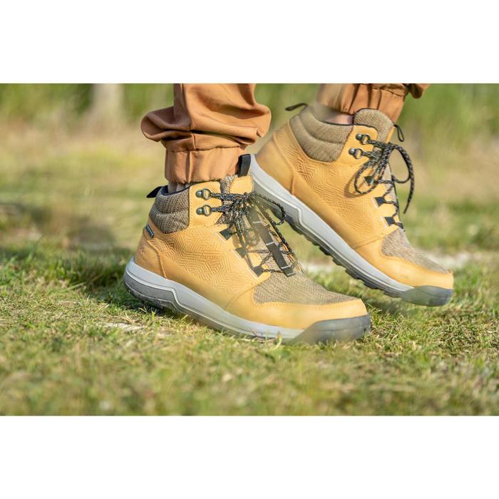 Waterdichte schoenen voor wandelen in de natuur NH500 halfhoog bruin heren
