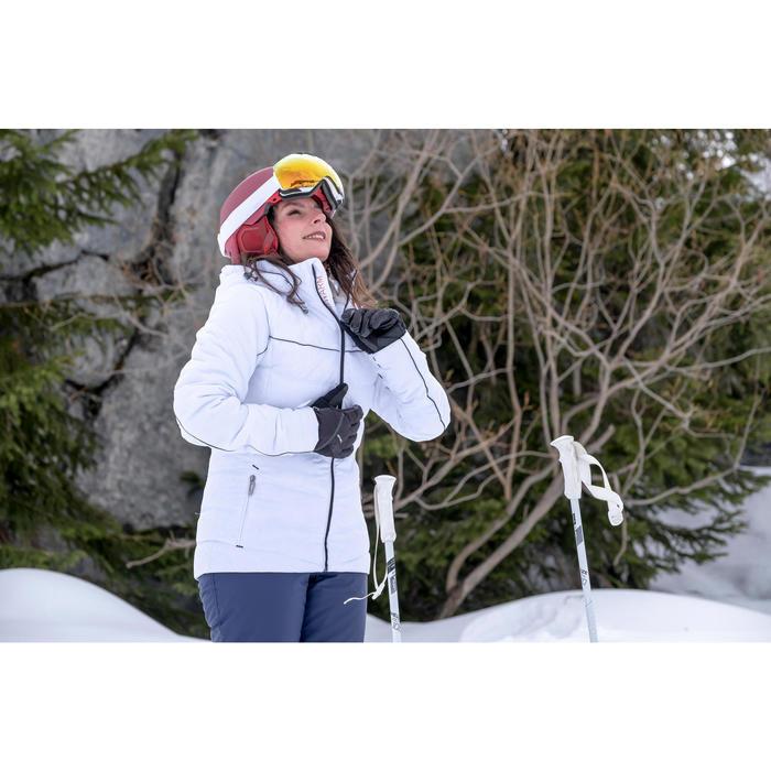 女款保暖滑雪外套Slide 500 - 白色