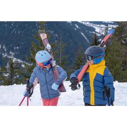 兒童滑雪外套WARM 500 - 藍色與粉色