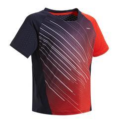 Badmintonshirt voor kinderen 560 marineblauw/rood