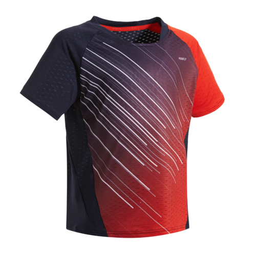 MAILLOT BADMINTON JUNIOR 560 - MARINE/ROUGE