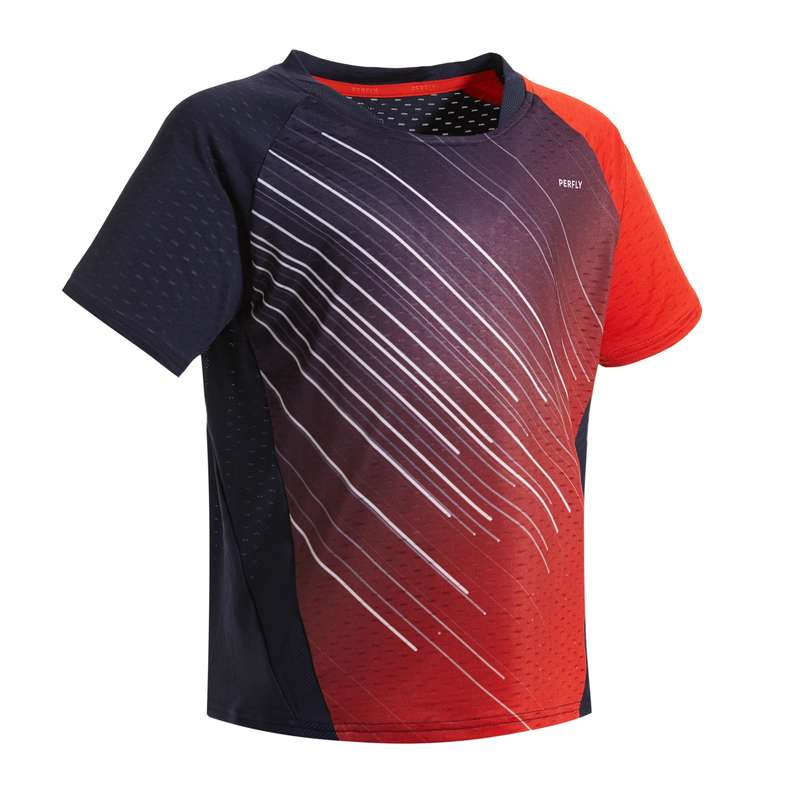 KIDS BADMINTON APPAREL Badminton - T-SHIRT 560 JR NAVY RED PERFLY - Badminton Clothing
