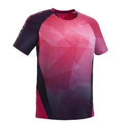 Badmintonshirt voor heren 560 roze/marineblauw