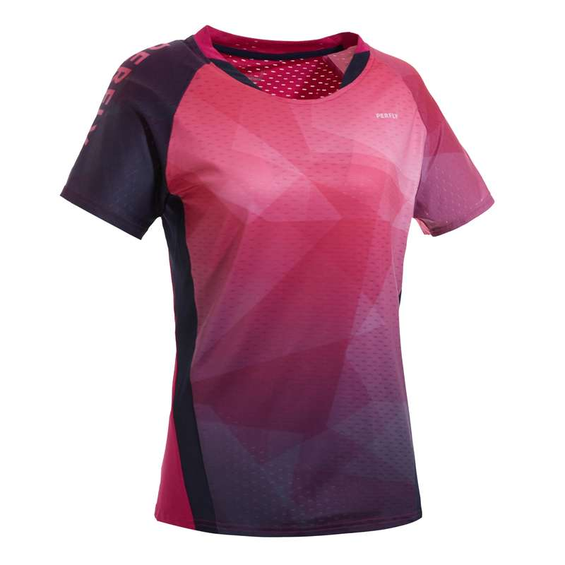 WOMEN'S INTERMEDIATE BADMINTON APPAREL Badminton - T-SHIRT 560 W PINK NAVY PERFLY - Badminton Clothing