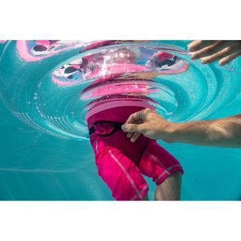嬰幼兒7至15 kg坐式泳圈附把手-粉紅及透明「熊貓」印花