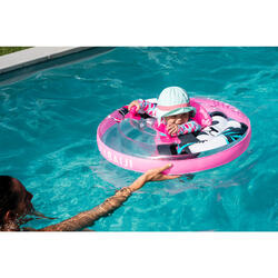 Baby's transparent inflatable pool ring, seat and handles for infants 7-15 kg