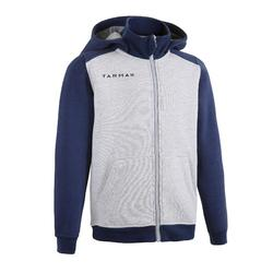 J500 Boys'/Girls' Intermediate Basketball Tracksuit Jacket - Light grey/Blue