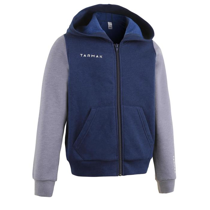兒童款初階籃球運動外套J100-軍藍色/灰色