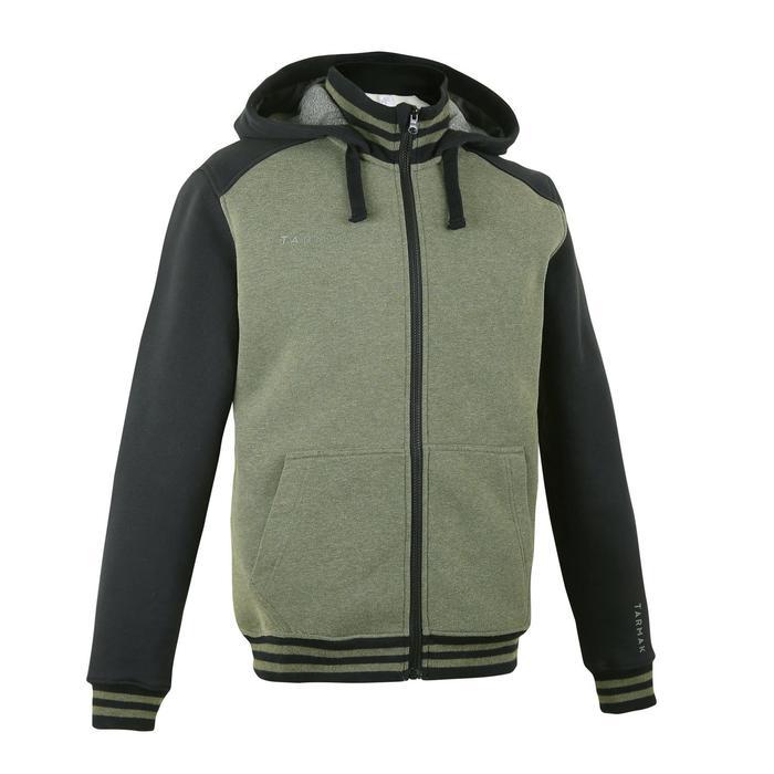 J500 Intermediate Basketball Hooded Zip-Up Jacket - Khaki