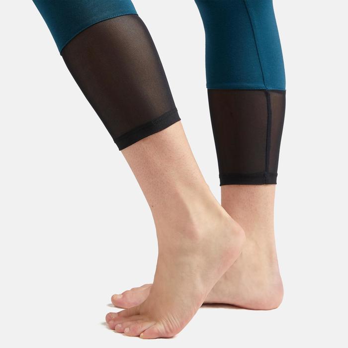Legging court de sport taille haute 520 femme 7/8 en coton bleu canard