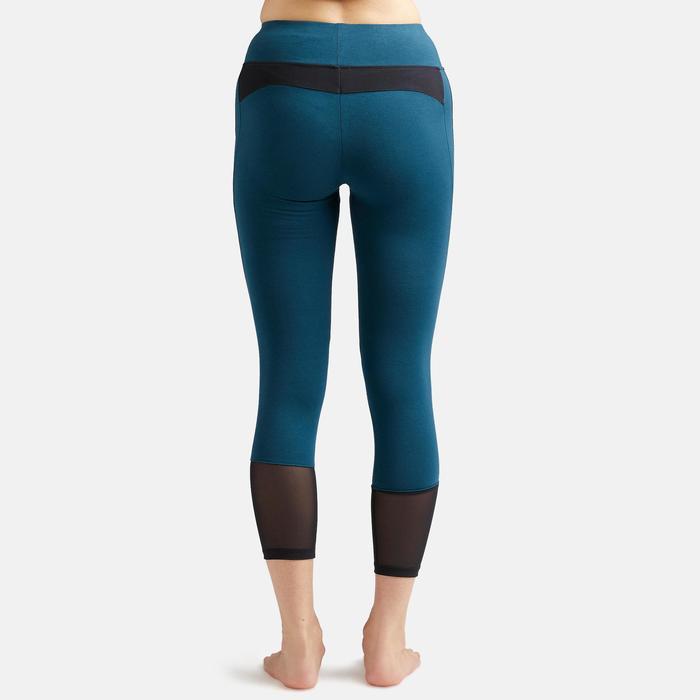 Legging 7/8 520 slim Fitness femme bleu canard