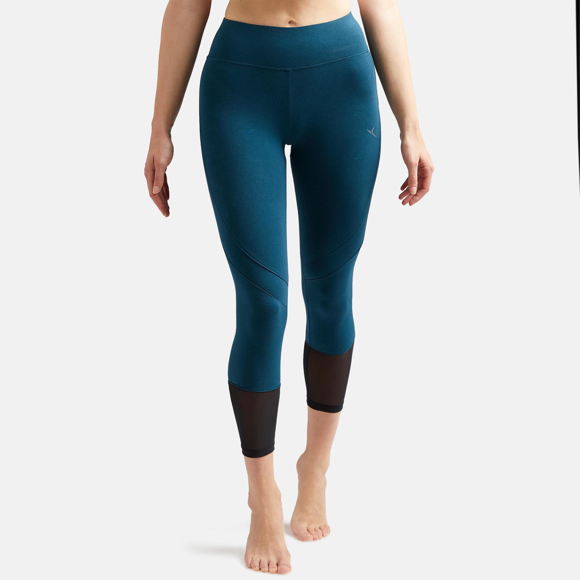 Legging court de sport taille haute 520 femme 78 en coton bleu canard domyos