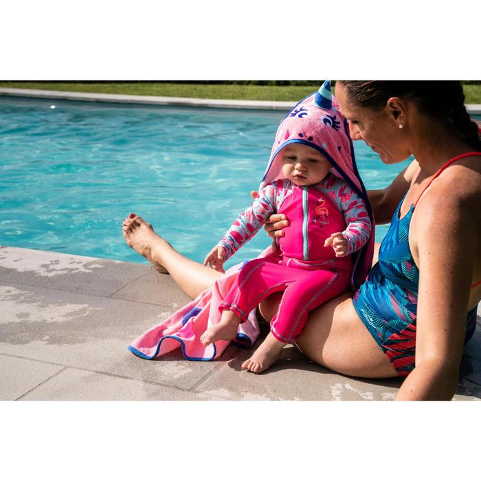 Poncho bébé avec capuche rose imprimé Licorne