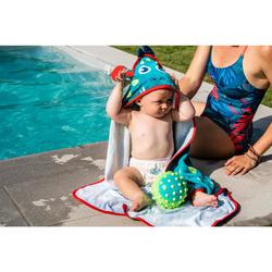 嬰幼兒連帽斗篷,藍色/綠色龍印花