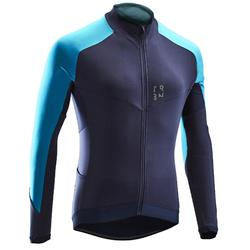 MAILLOT VELO ROUTE MANCHES LONGUES HOMME CYCLOTOURISTE RC500 NAVY/BLEU