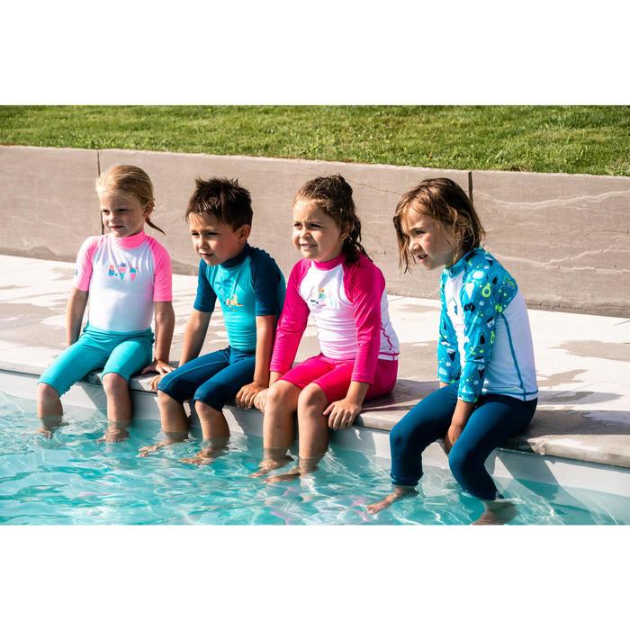 Zwempakje met korte mouwen en korte short voor peuters wit blauw roze met print