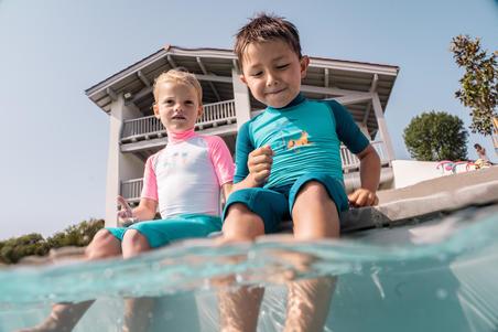Maillot de bain shorty anti UV bébé manches courtes bleu imprimé