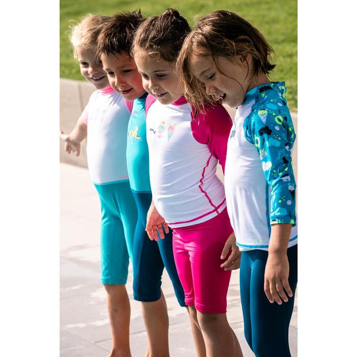 Shirt met lange mouwen voor peuters uv-werend wit en roze met print