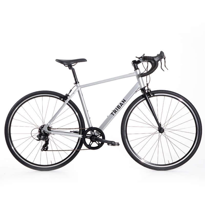 LANDSVÄGSCYKLAR CYKELTURISM Cykelsport - Landsvägscykel RC100 Grå TRIBAN - Cykelsport