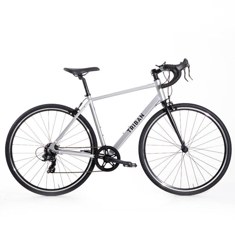 SILNIČNÍ KOLA NA CYKLOTURISTIKU Cyklistika - SILNIČNÍ KOLO RC100 ŠEDÉ  TRIBAN - Jízdní kola