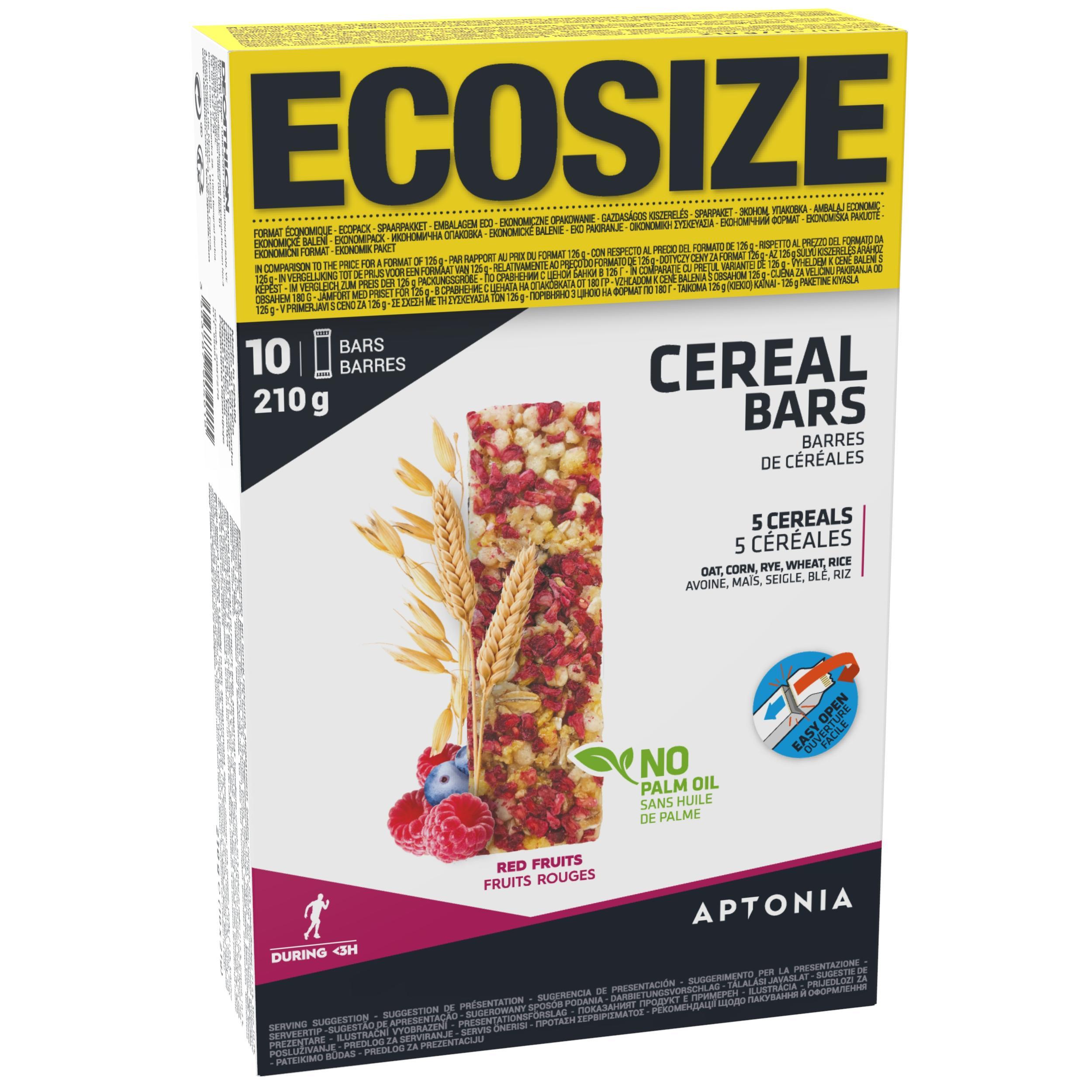 Barre de céréales clak aux pépites de fruits rouges ecosize 10 x 21g aptonia