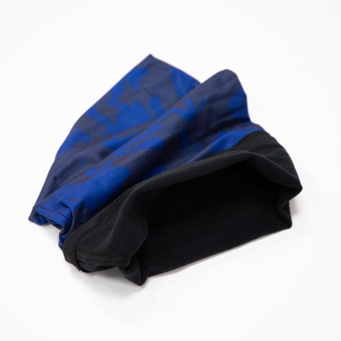Nekwarmer in 2 materialen voor fietsen 500 camouflage blauw