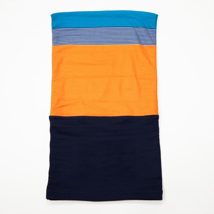 Nekwarmer in 2 materialen voor fietsen 500 blauw/oranje
