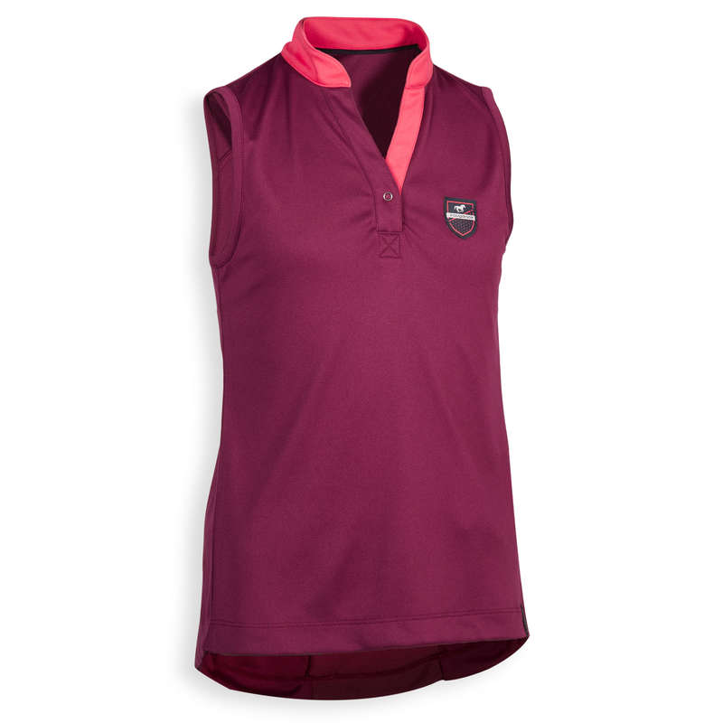 KID HOT WEATHER RIDING WEAR Horse Riding - Tank Top Light 500 - Plum FOUGANZA - Horse Riding