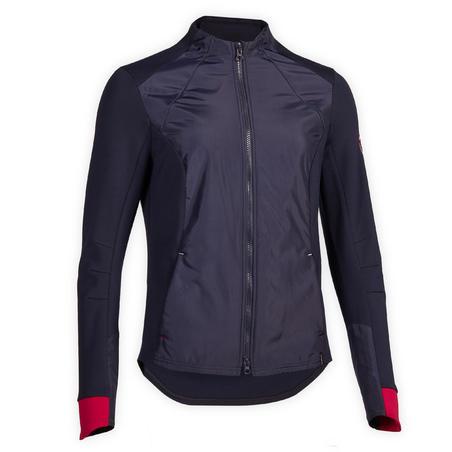 Women's Equestrian Sweatshirt 500 - Navy Blue/Pink Cuffs