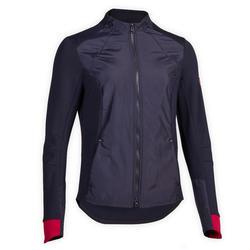 Camisola Equitação Mulher 500 Azul-marinho Punhos Rosa