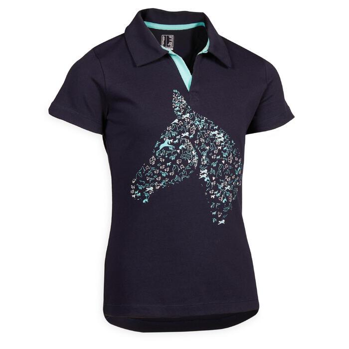 Polo manches courtes équitation 100 marine motif turquoise.