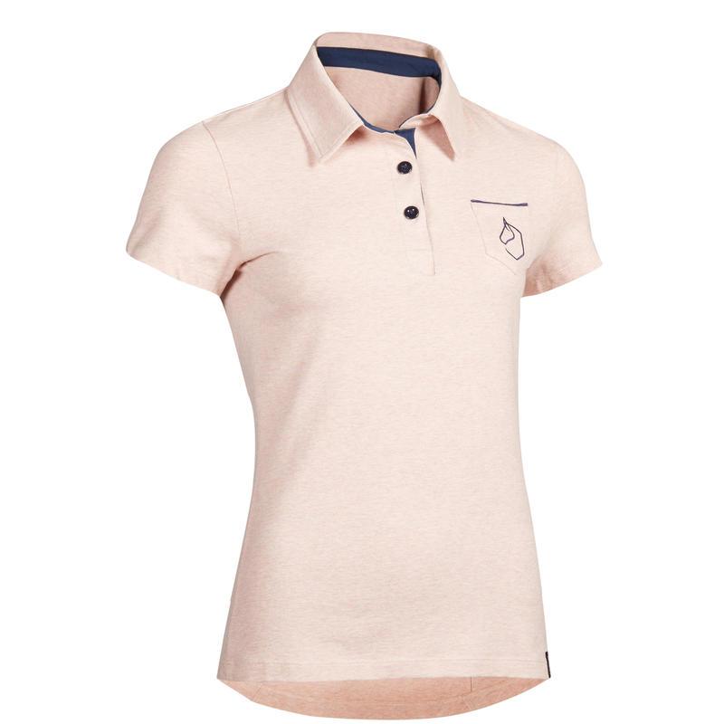 Women's Short-Sleeved Equestrian Polo 140 - Mottled Light Pink