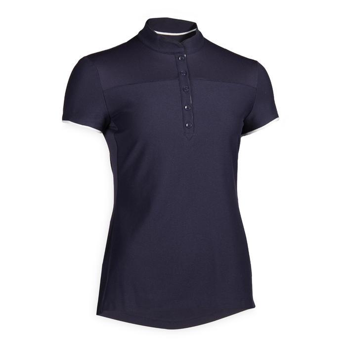 Polo manches courtes équitation femme 500 bleu marine