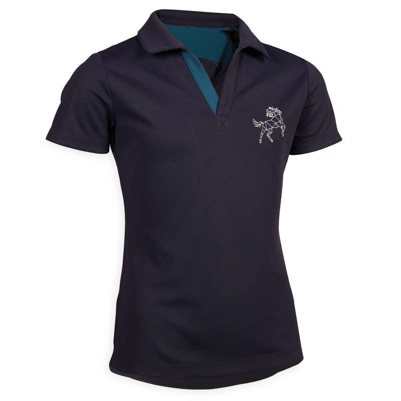 HOT WEATHER JR RIDINGWEAR Horse Riding - 500 Mesh Polo Shirt - Navy FOUGANZA - Horse Riding